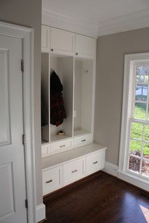 Great use of double lockers at rear entry mudroom - eclectic - entry - charlotte - by Hardwood Creations