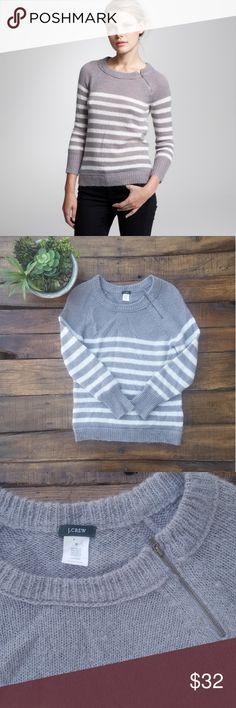 93da2f740f J. Crew Chalet Gray   White Stripe Zip Sweater Excellent condition gray and  white stripe