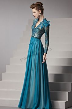 Prom dresses 2014 - Lake Blue V-Neck Long Sleeves Lace Evening dress BY562