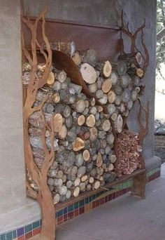 Built-in wood storage near outside fire pit....or inside that