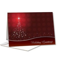 Holiday  Greetings red star tree greeting card. Discover the impact of our Holiday cards! This Holiday greeting card adds beautiful imagery and seasonal messages to your notes and will make a positive impression on everyone who receives it.  Reinforces business values and offers inspiring messages.