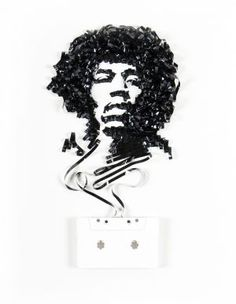 "Tape art by Erika Iris Simmons Jimi Hendrix ""The time I burned my guitar it was like a sacrifice. You sacrifice the things you love. I love my guitar. """