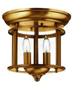"Gentry 10"" 2 Light Flush Mount in Heirloom Brass"