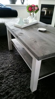Lack coffee and side table with wood and light paint. ~ Peter van Rijn KURA and Old BREKKE transform to ONE FUN-tastic