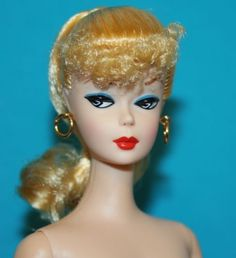 Vintage-BARBIE-Repro-NUDE-Blonde-Ponytail-GOLD-HOOPS-White-Iris-50th-ANN-amp-STAND