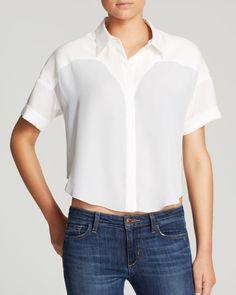 Aqua Shirt - Color Block Cropped