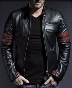 New Men's Leather Jacket black Slim fit Motorcycle Real Lambskin Jacket Z04…