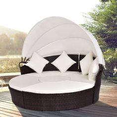 Shop for Costway Outdoor Patio Canopy Cushioned Daybed Round Retractable Rattan Furniture Set. Get free delivery On EVERYTHING* Overstock - Your Online Garden & Patio Shop! Get in rewards with Club O! Rattan Furniture Set, Coaster Furniture, Unique Furniture, Outdoor Furniture, Outdoor Decor, Outdoor Living, Funky Furniture, Furniture Outlet, Discount Furniture