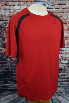 Nike Men s Dri Fit Athletic Shirt Red Black Short Sleeve Training Gym Sz L  Large 97166b8b7