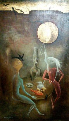 Leonora Carrington:  Three Women with Crows at a Table
