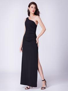 8fdfa6db9f2 Long Black One Shoulder Evening Dress