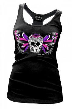 Inked Boutique - Butterfly Sugar Skull Racerback Tank Top Women's Day of the Dead Tattoo Art   http://www.inkedboutique.com/