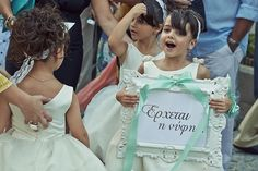 """""""Here comes the bride"""" πινακίδα για τα παρανυφάκια στολισμένη με σατέν κορδέλες See Full Post  Photography by XSTUDIO"""