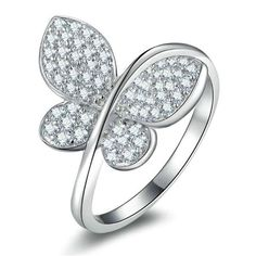 Bellera Jewelry Fly Butterfly 18K Platinum Plated Authentic 925 Sterling Silver Clear CZ Crystal Ring Size 7. Quantity:1 piece with 925 stamped. Material:solid 925 sterling silver with 18K platinum plated. High quality dazzling cubic zirconia crystals. Using the latest cutting technology smooth cutting crystal surface. All manual polishing technology. Environmental protection is not easy to fade. Nickel Free & Top Quality Rhodium Finish. It's a perfect accessory to your outfit or as an...