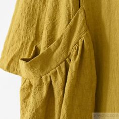 2017 spring fine yellow linen dresses cozy large pockets oversized