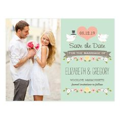 Yellow Save the Date Wedding Invitations MINT LOVE BIRDS DOVE SAVE THE DATE POSTCARD