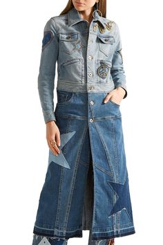 Two-tone appliquéd denim coat | ROBERTO CAVALLI | Sale up to 70% off | THE OUTNET