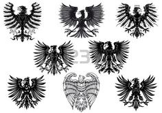 Heraldic royal medieval eagles for retro heraldry design isolated on white background