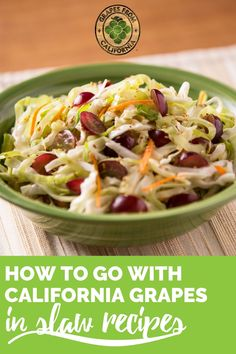 These cold slaw recipes include ingredients like red cabbage, apple, jicama, carrot, cilantro, Dijon mustard, orange juice, vinegar, and sweet grapes from California.  Try one of these easy recipes for the best slaw!  #cold #easy #vinegar #best #sweet #cabbage #apple #jicama #carrot #cilantro #red #dijonmustard #simple #recipe #perfect #veggies #orangejuice #slaw #slawrecipes Grape Recipes, Slaw Recipes, Home Recipes, Summer Recipes, Easy Recipes, Easy Meals, Cabbage Slaw, Red Cabbage, Side Dish Recipes