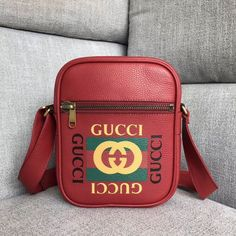 4ac242afdb1b Gucci Leather Print Messenger Bag 523591 -Size: cm -Calf leather with Gucci  vintage logo -Brass hardware -Front zipper pock.