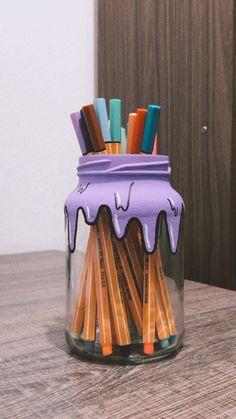 Diy Crafts Hacks, Jar Crafts, Cute Crafts, Crafts To Do, Arts And Crafts, Diys, Diy Y Manualidades, Indie Room Decor, Ideias Diy