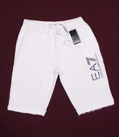 Emporio Armani EA7 men shorts, milk white, ivory 100% cotton size M L XL XXL #Armani #Athletic