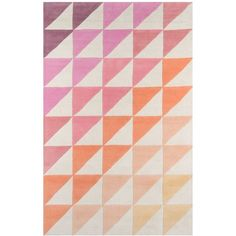 Novogratz by Momeni Delmar DEL06 5' x 8' Area Rug ($569) ❤ liked on Polyvore featuring home, rugs, pink, plush rugs, geometric wool rug, pink rug, modern geometric rug and pink geometric rug