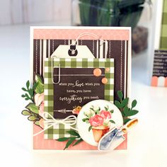 """Door Gift Bag and Card set by Jana Eubank with the """"Spring Market"""" collection from Card Sketches, Card Kit, Flower Cards, Greeting Cards Handmade, Homemade Cards, Making Ideas, Note Cards, Cardmaking, Holiday Cards"""