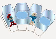 Smurfs: Free Printable Boxes for Boys Party.