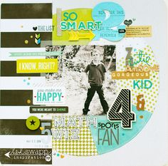 I love all the different fonts used in this layout! 5 things...grayson - Scrapbook.com