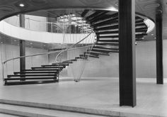 Eero Saarinen, late 1940's General Motors Technical Centre in Warren, Michigan -    huge helical staircase supported using innovative/complex stainless steel rod suspension system