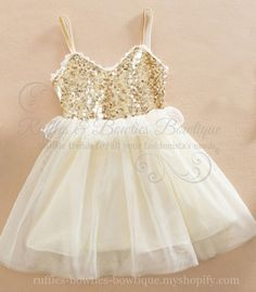 """Krysta"" White and Gold Sequin & Tulle Princess Dress - Summer Pre-Order"