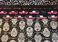 Hearse coffin falling sugar skulls glow in dark Dia de los Muertos