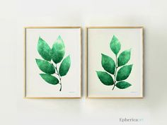 Modern Botanical prints, Green leaves wall art set, Green wall decor Plant prints, Botanical Art Plant, Green Print set  by EphericaArt