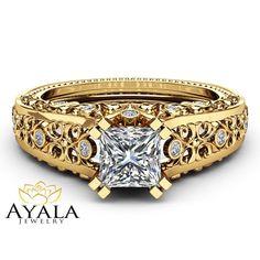 Square Moissanite Engagement Ring 14K Yellow Gold Ring Unique Filigree Ring Princess Moissanite Engagement Ring