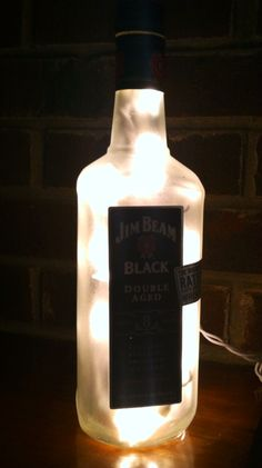 see more at http://www.lightitupcreations.blogspot.com/?m=1  #bottle #seasonal #christmas #black #lighted #lamp #jim beam  #liquor #whiskey