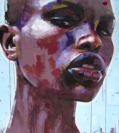 """Africa is My Name"" - Jimmy Law, acrylic on canvas, 2015 {figurative #expressionist art female head grunge black woman face portrait painting drips #loveart} jimmylaw.co.za"