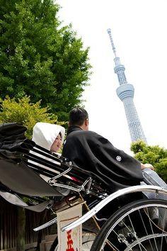 人力車で和装前撮りするカップルが急増中とのこと。