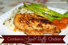 cranberry apple butter chicken on the stove:  30-45 MINS. 6 chicken breasts 1 cup of Trader Joe's Cranberry Apple Butter, or regular apple butter 1-2 cloves of garlic, minced 1 T olive oil 2 cups of chicken broth In a large skillet, add the olive oil and garlic over a medium heat.