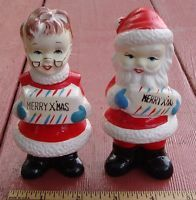 Vintage Mr And Mrs Santa Claus Salt And Pepper Shakers, MERRY XMAS, Ceramic