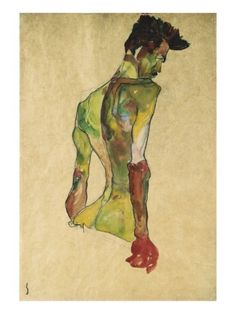 Male Nude in Profile Facing Right Giclee Print
