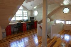 attic bedroom/workspace by theduvalls, via Flickr