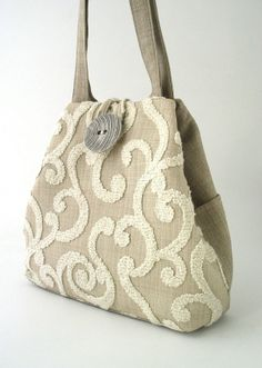 Linen with bold embroidery tote bag beige purse by daphnenen