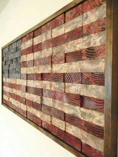 Recommissioned Flag Oil on pine x 21 x 2 inches Matthew Jarmer This is an original American flag wall hanging made of reclaimed pine - Woodworking Tuesday