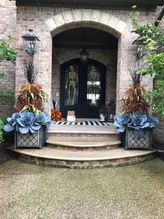 Deborah Silver and Co Inc Fall Container Plants, Fall Containers, Fall Plants, Porch Plants, Potted Plants, Outdoor Christmas Planters, Christmas Urns, Christmas Decorations, Fall Flower Pots