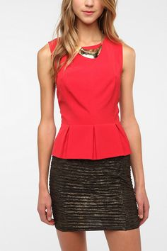 Kimchi Blue Structured Peplum Top. This with a peter pan collar would be perfect.