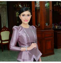 Myanmar Traditional Dress, Thai Traditional Dress, Traditional Outfits, African Fashion Dresses, African Dress, Fashion Outfits, Batik Dress, Silk Dress, Modest Dresses
