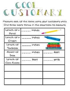 Here's a lesson on customary length that includes vocabulary word cards, activity sheet for students, and a homework page.