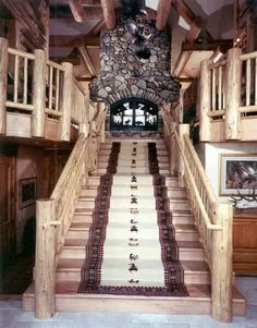 Interesting Stairwell with Fireplace