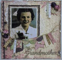 Grandmother ~ Beautifully feminine heritage portrait page...love the 'personal attributes' for her hanging from the twine line.
